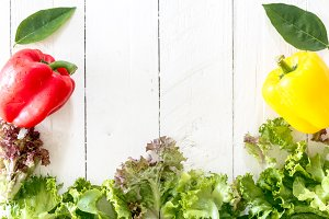Healthy vegetables on wooden backgro