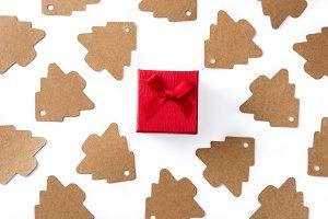 Christmas tree label and gift box