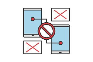Smartphones with forbidden sign icon
