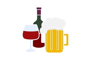 Alcohol drinks glyph color icon
