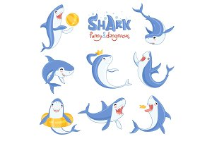 Cartoon shark swimming. Ocean big