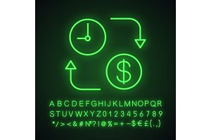 Time is money neon light icon