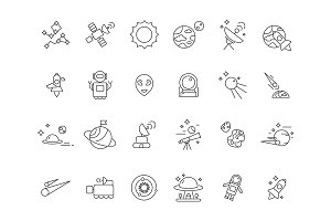Linear space icons. Telescope