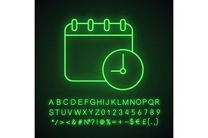 Schedule neon light icon