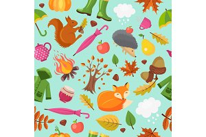 Autumn animals pattern. Forest fall