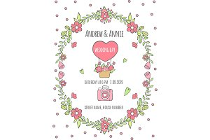 Wedding day poster. Invitation for