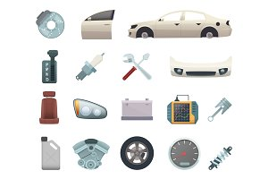 Car parts. Automobile creation kit