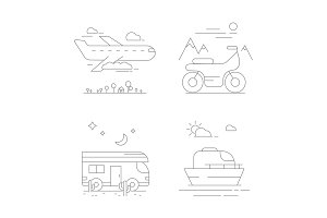 Urban transport icons. Vector