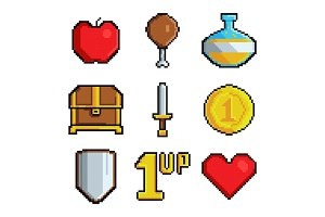 Pixel games icons. Various stylized
