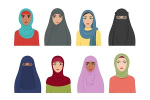 Muslim girls avatars. Islamic