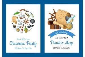 Vector cartoon sea pirates birthday