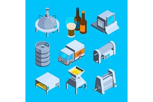 Beer production isometric. Vector