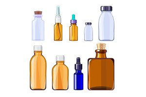 Glass medical bottles. Isolated