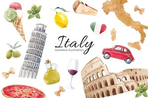 Italian collection Watercolor PNG