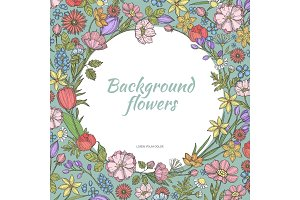 Circle background with flowers. Hand