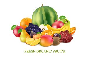 Set of various fresh fruits isolate