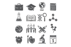 Back to school icons. Monochrome