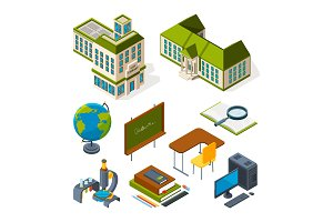 School and education isometric. Back