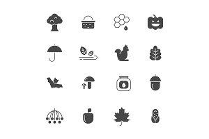 Autumn symbols. Vector monochrome