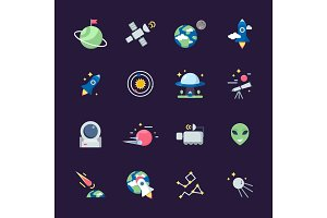 Space flat icons. Telescope