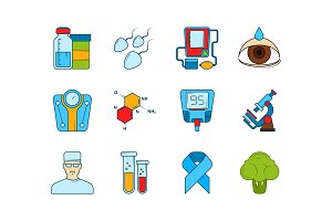 Medical icon set. Various symbols of
