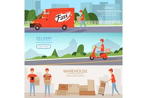 Delivery service banners. Cargo