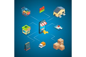 Vector isometric shipping and