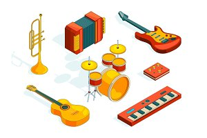 Musical instruments. Isometric