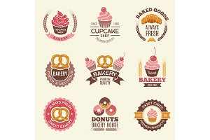Bakery retro labels. Cupcakes donuts