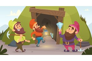 Dwarves in the mine. Vector