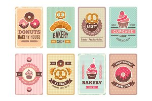 Bakery cards design. Fresh sweet