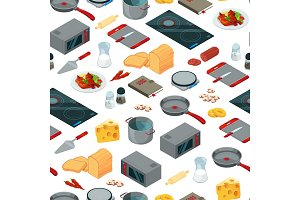 Vector cooking food isometric