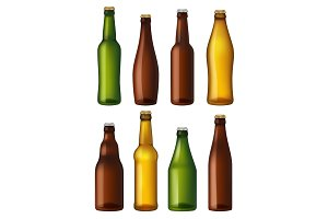 Blank beer bottles. Colored glass