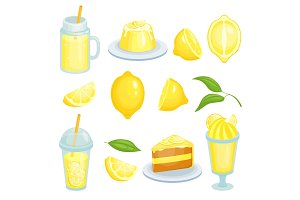 Lemon food. Cakes, lemonade and