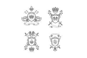 Heraldics chivalry arms. Vector hand