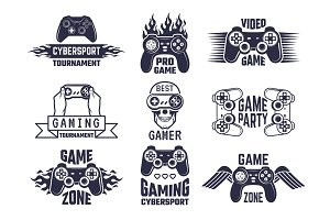 Gaming logo set. Video games and