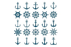 Wheels ship anchors icon. Steering