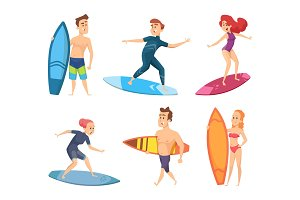 Surf characters. Vector design of