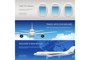 Sky airplane tourism banners. Civil