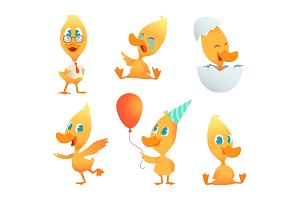 Illustrations of funny duck. Vector