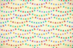 Color flags bunting seamless pattern
