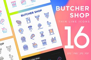 Butcher | 16 Thin Line Icons Set