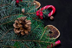 christmas background with fir, dry c