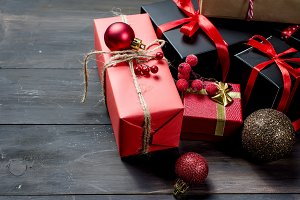 Red christmas  gift  box with red ri