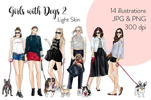 Girls with Dogs 2-Light Skin Clipart