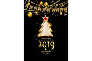Merry christmas card with gold