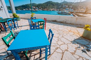 Colorful table and chairs at the