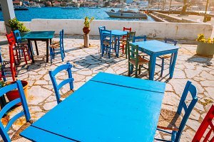 Colorful table and chairs in a