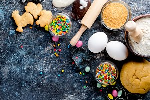 Baking Easter  background with dough