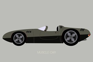 convertible muscle car illustration